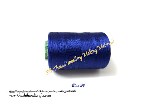 Royal Blue shade Silk Threads Individual Spools for Bangle/Jhumkas/Jewelry Designing/Tassel Making Shade No. 24