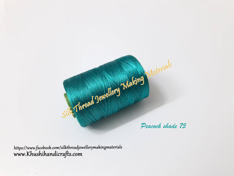 Peacock shade Silk Threads Individual Spools for Bangle/Jhumkas/Jewelry Designing/Tassel Making Shade No. 75