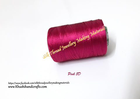 Pink Silk Threads Individual Spools for Bangle/Jhumkas/Jewelry Designing/Tassel Making  Shade No. 5D