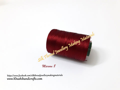 Maroon Silk Threads Individual Spools for Bangle/Jhumkas/Jewelry Designing/Tassel Making Shade No. 8