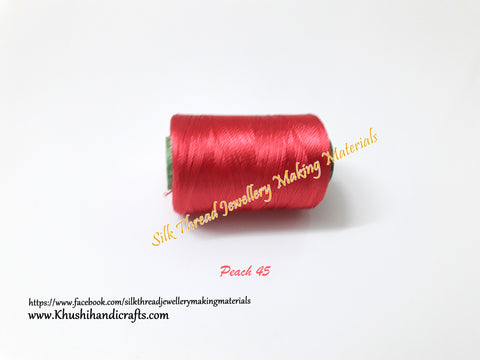 Dark peach Silk Threads Individual Spools for Bangle/Jhumkas/Jewelry Designing/Tassel Making Shade No. 45