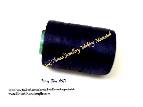 Navy Blue Silk Threads Individual Spools for Bangle/Jhumkas/Jewelry Designing/Tassel Making Shade No. 25D