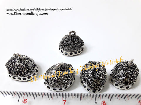 Jhumka Base -Antique Silver Pattern 3_1.Sold per Pair!