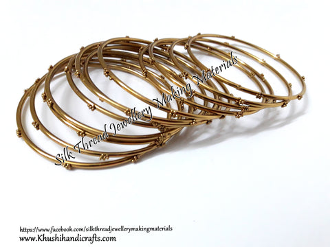 Beaded Metal Bangles for Silk thread Wrapping