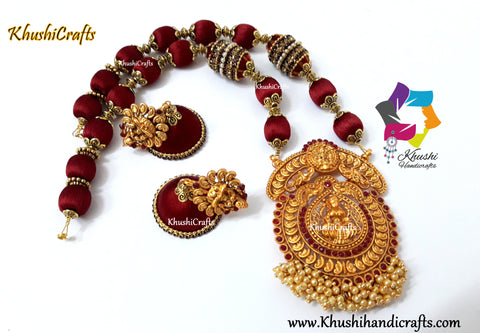 Maroon shaded Silk Thread Jewelry Set with a grand Temple Jewelry Lakshmi Pendant!
