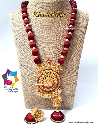 Maroon shaded Silk Thread Jewelry Set with a grand Temple Jewelry Lakshmi Pendant Pattern 2!