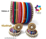 Multicolored Silk Jhumkas and bangles