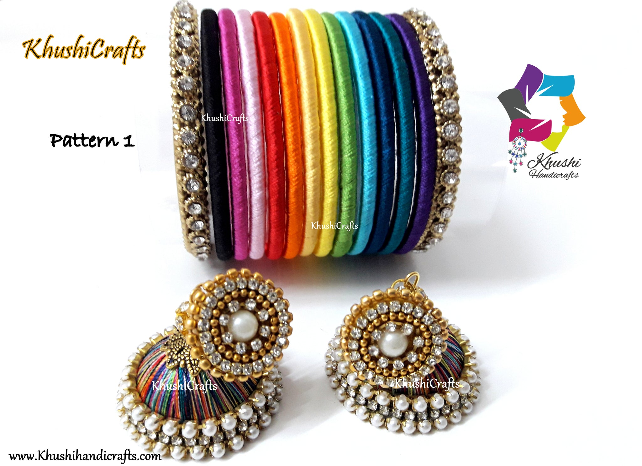 Silk thread Bangles and jhumki