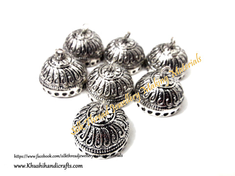 German Silver Jhumka Base -Antique Silver Pattern 7 - 22*25MM. Sold per Pair