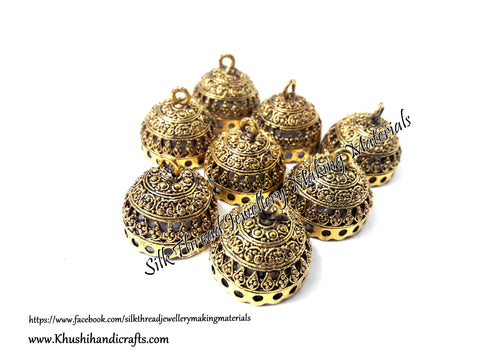 German Silver Jhumka Base -Antique Gold Pattern 8 - 22*23MM. Sold per Pair