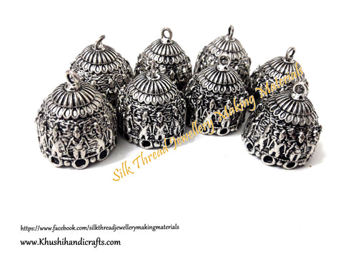 German Silver Jhumka Base -Antique Silver Pattern 9 - 30*25MM. Sold per Pair