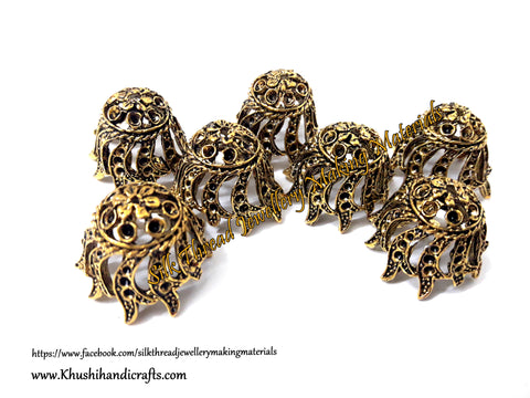 German Silver Jhumka Base -Antique Gold Pattern 11 - 22*25MM. Sold per Pair