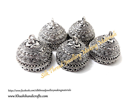 German Silver Jhumka Base -Antique Silver Pattern 15- 25*29MM. Sold per Pair