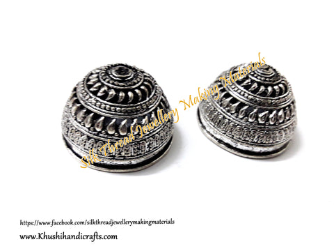 German Silver Jhumka Base -Antique Silver Pattern 16- 22*30MM. Sold per Pair