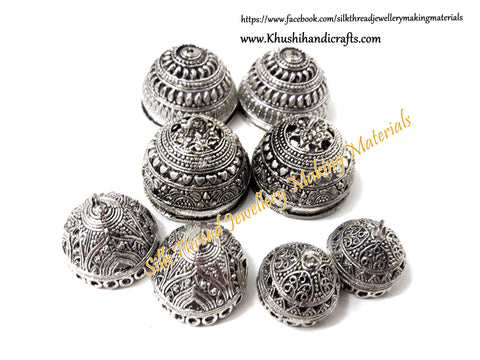 Combo of German Silver Jhumka Bases -Antique Silver Pattern 17. Sold as the set indicated!
