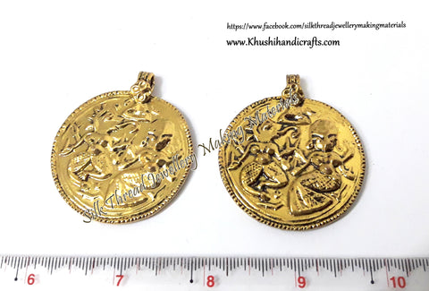 Antique Gold / Oxidized Ganesha Round Pendant .Sold per piece!P021