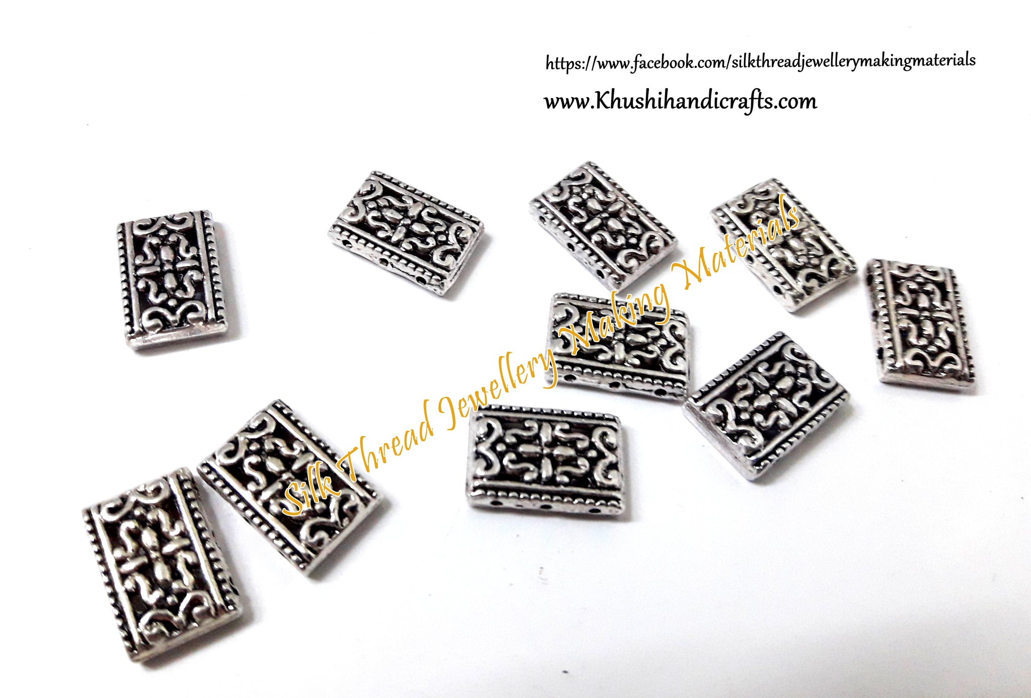 Antique Gold/Silver Flower Pattern 3 Holes Rectangle Spacer /Connector Beads .Sold per piece -CO8 - Khushi Handmade Jewellery