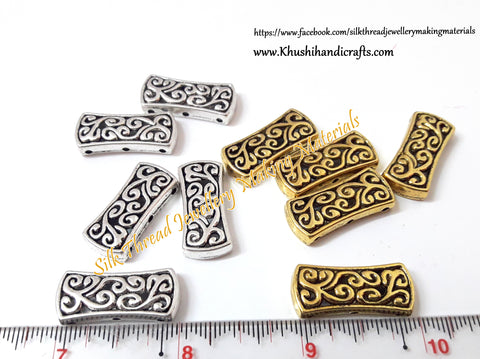 Antique Gold/Silver Designer spiral pattern 3 Holes Rectangle Spacer /Connector Beads .Sold per piece  -CO6