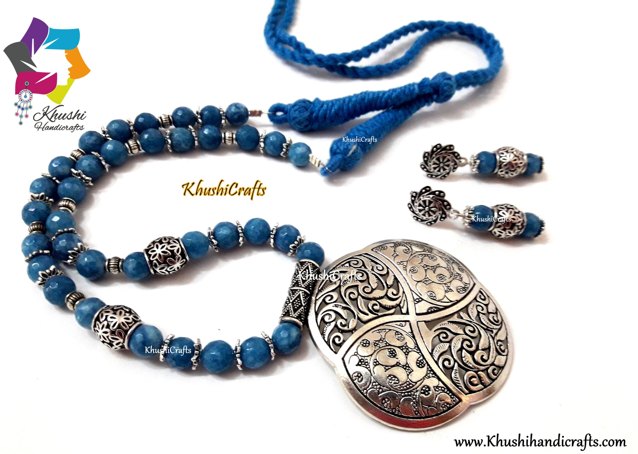 Blue Semiprecious Necklace with German silver Pendant and dangler earrings - Khushi Handmade Jewellery
