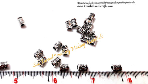 Designer Antique Silver drum spacer beads pattern 2.Sold as a pack of 10 pieces -SP12