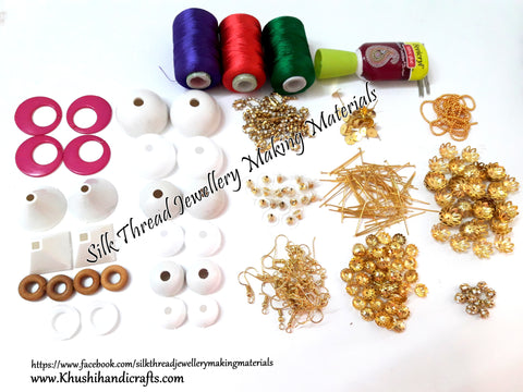 Silk Thread Jhumka/Earring Making Kit With all the required Jewelry Findings Combo!