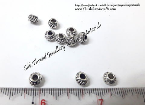 Antique Silver small Spacer Beads .Sold as a pack of 10 pieces  -SP62
