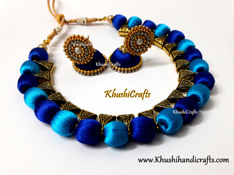 Shades of Blue Silk Thread Jewelry set!