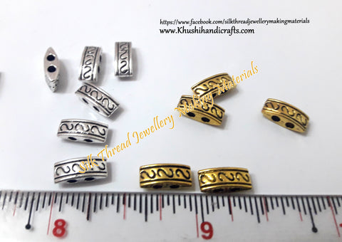 Antique Gold/Silver 2 Holes Rectangle Spacer /Connector Beads .Sold per piece -CO7