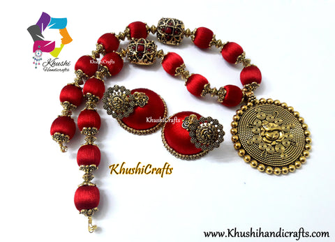 Silk Thread Jewelry in Red complimented with a Ganesha Pendant!