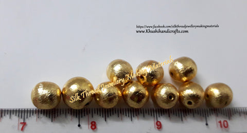 Brushed Round Gold Beads 12mm. Sold per piece!