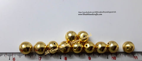 Brushed Round Gold Beads 10mm. Sold per piece!