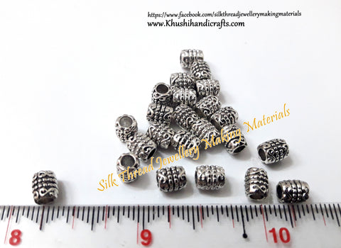 Antique Silver Cylidrical spacer beads Pattern 2.Sold as a pack of 10 pieces -SP49