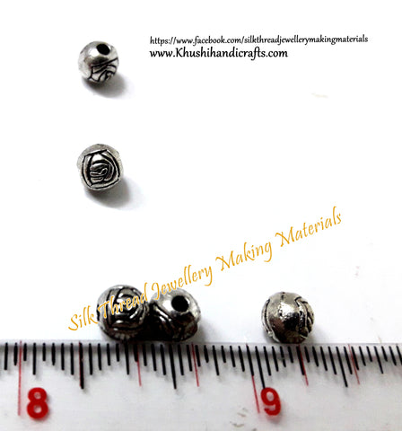 Antique silver Rose metal spacers.Sold as a set of 20 beads -SP67