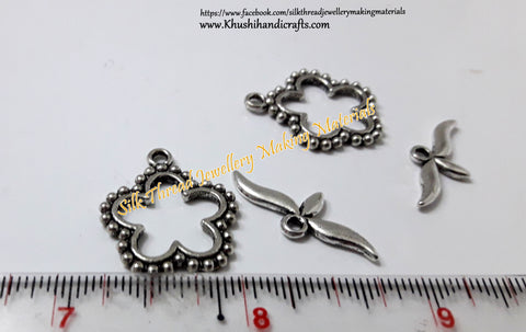 Antique Silver Flower Toggle clasps -T5