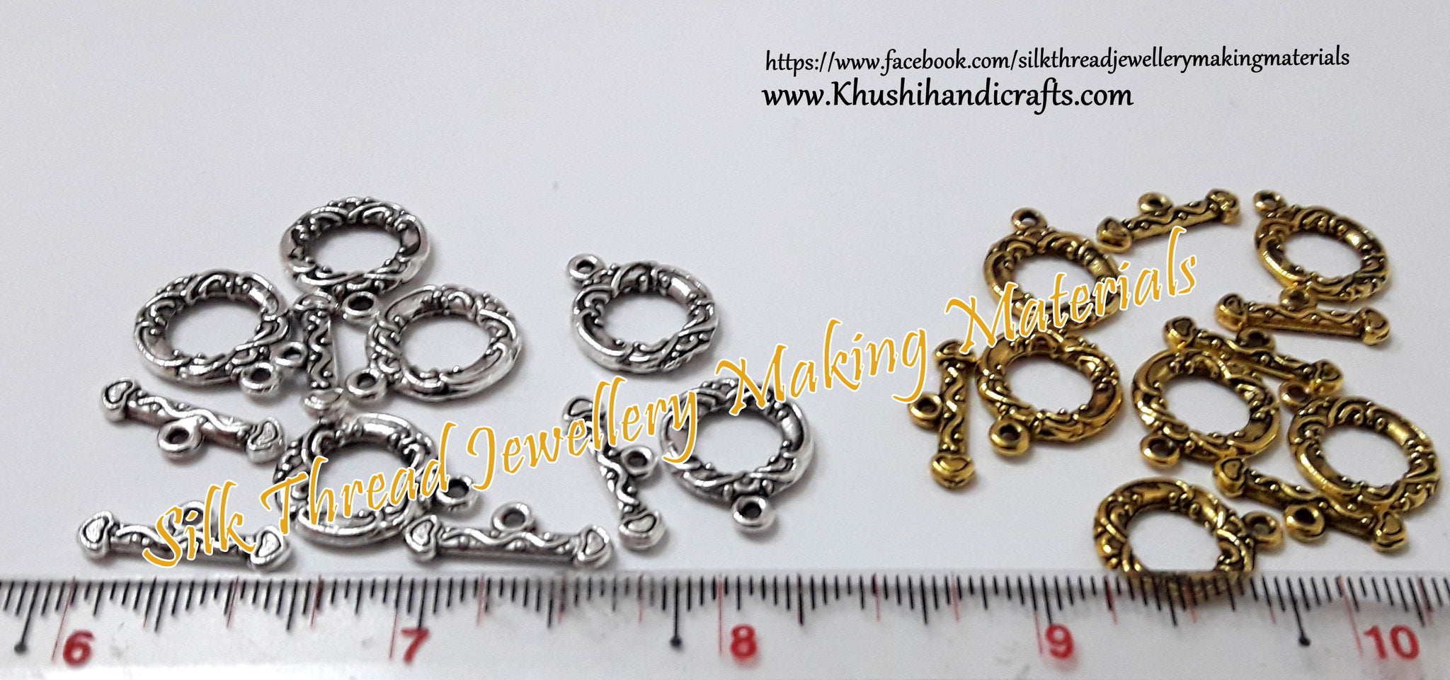 Circular Toggle Clasps in Gold /Silver -T8 - Khushi Handmade Jewellery