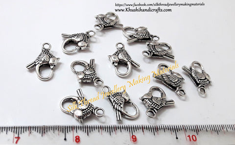 Antique Silver Bird clasps-T4