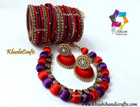 Silk Thread Jewellery set with Bangles in Red and Blue