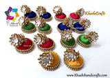 Silk jhumkas with Pachi stud