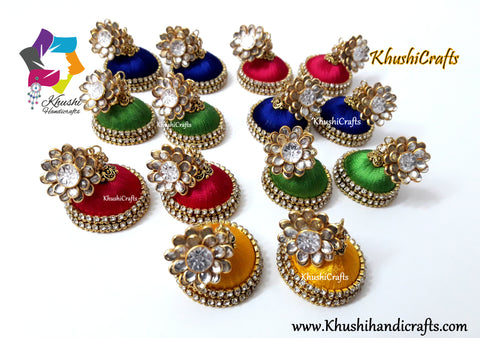 Silk Jhumkas With Stone Pachi Stud