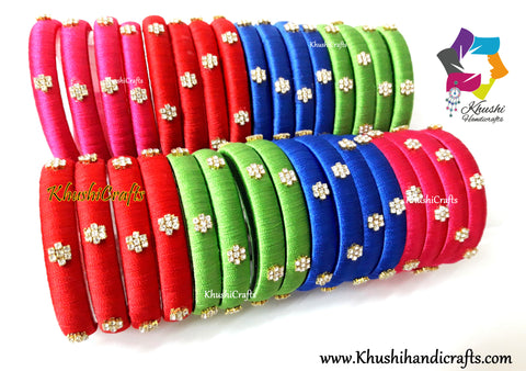 Simple Designer Silk Bangles with stone work!