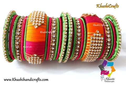 Silk Thread Bangles in Green,Pink and Orange