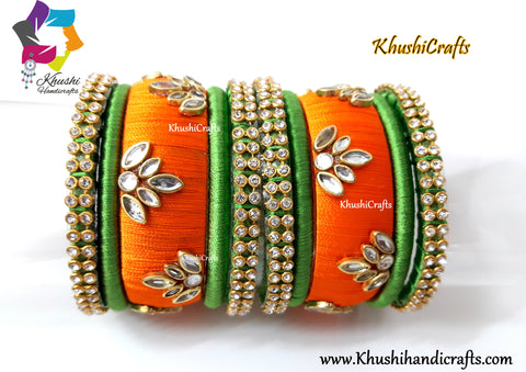 Silk Thread Bangles in Green and Orange!!
