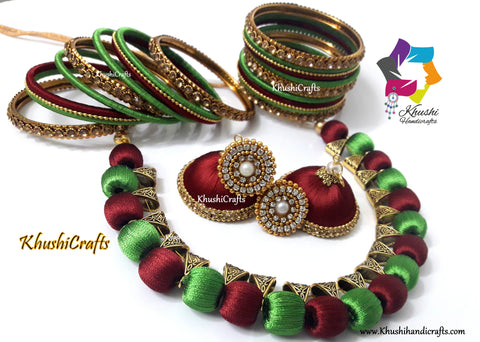 Silk Thread Jewellery set with Bangles in Green and Maroon
