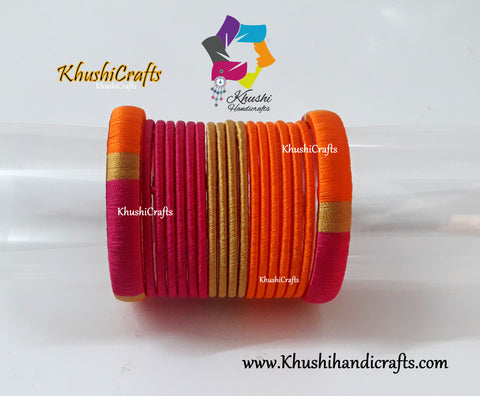Pink ,Orange and Gold shaded Silk thread Designer Bangles