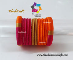 Orange Pink Silk Thread Bangles