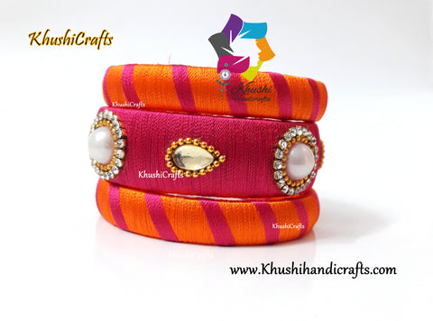 Pink and Orange shaded Silk thread Bangles