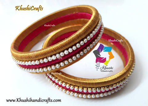 Pearl work Silk thread Bangles