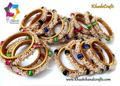Silk thread Bangles with Loreal work