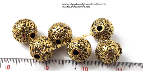 Antique Gold Round Designer Beads 16mm  GB7