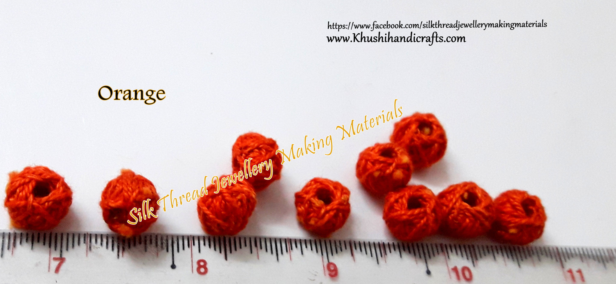 orange cotton thread bead